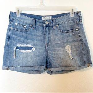 Madewell high boyfriend distressed cuffed shorts